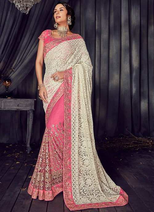 Cream And Pink Gotta Patti Embroidered Designer Saree