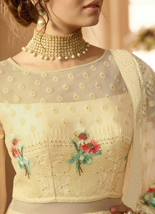 Cream Crush Cutout Detail Bunch Embroidered Anarkali Suit