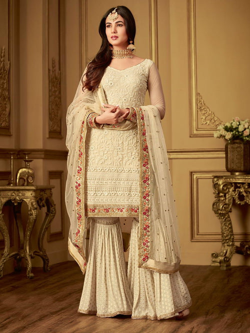 Cream Crush Traditional Embroidered Plaited Palazzo Suit