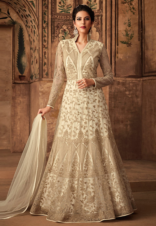 Cream White Embroidered Net Anarkali Suit