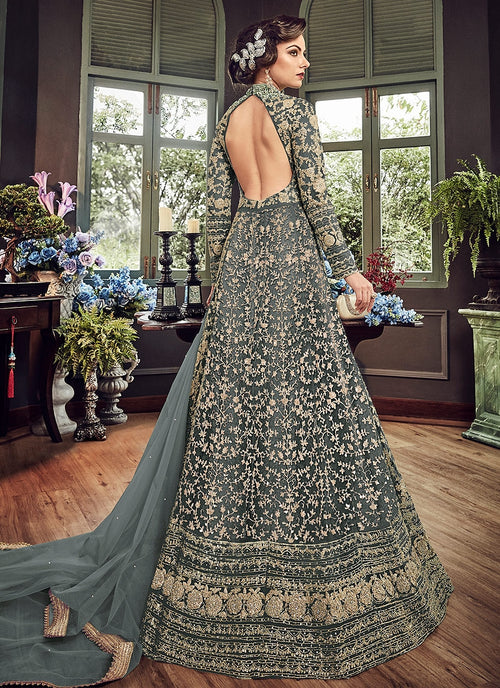 Dark Blue Royal Embroidered Backless Anarkali Suit
