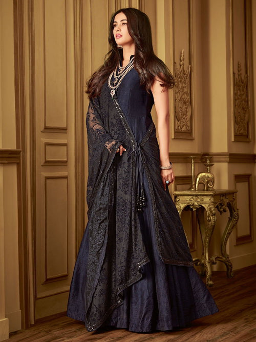 Dark Blue Minimalist Embroidered Flared Anarkali Suit