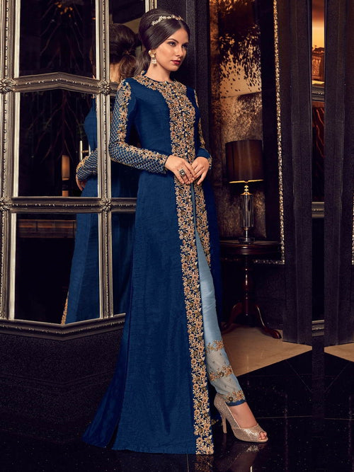 Dark Blue In Dual Tone Traditional Embroidered Anarkali Suit