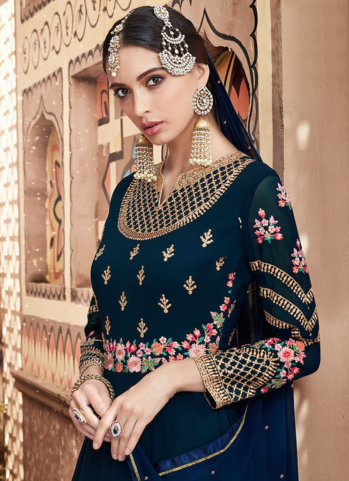 Dark Blue Multi Embroidered Flared Anarkali Suit