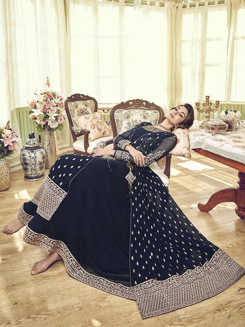 Dark Blue Overcoat Style Embroidered Anarkali Gown