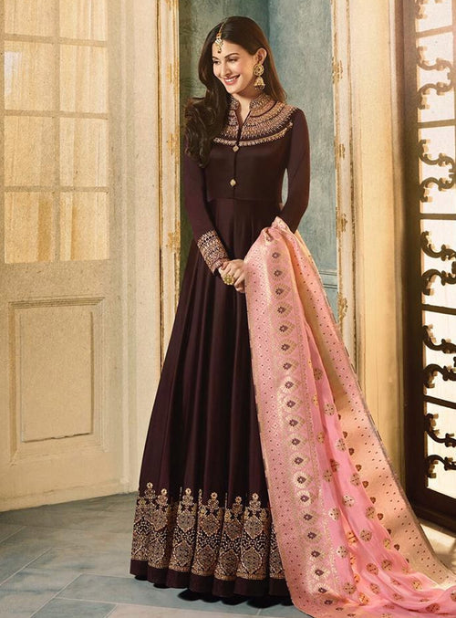 Dark Brown And Pink Motif Embroidered Ghera Anarkali Suit