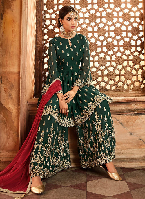 Dark Green And Red Embroidered Peplum Style Gharara Suit