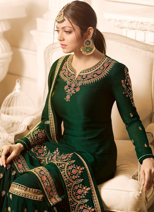 Dark Green Embroidered Designer Gharara Palazzo Suit
