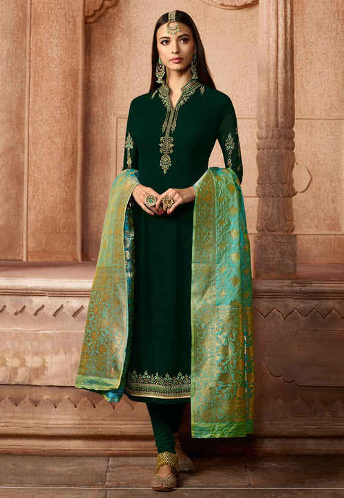 Dark Green Dual Tone Embroidered Satin Churidar Suit