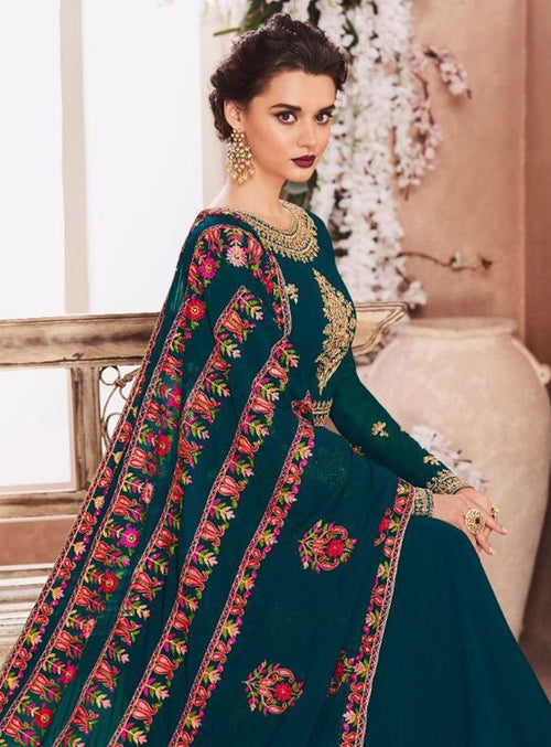 Dark Green Golden Multi Embroidered Flared Anarkali Suit