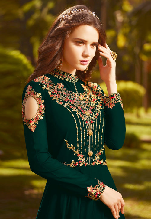 Dark Green Multi Embroidered Georgette Anarkali Suit