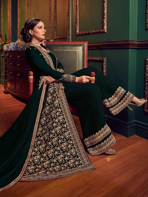 Dark Green Ethnic Embroidered Jacket Style Palazzo Suit