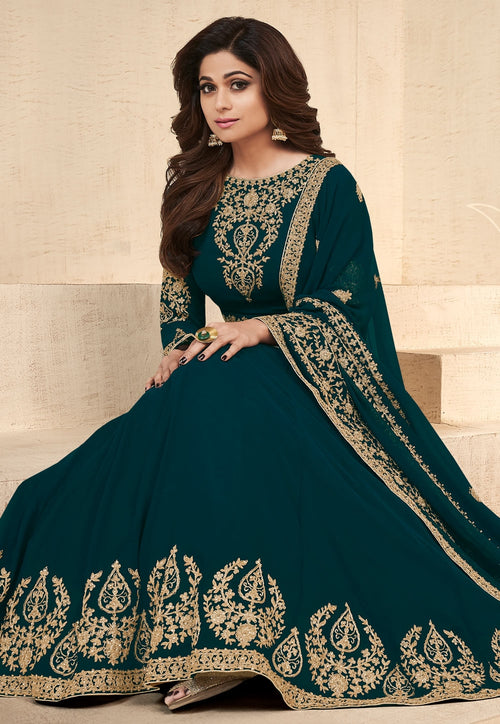 Dark Green Embroidered Georgette Anarkali Suit