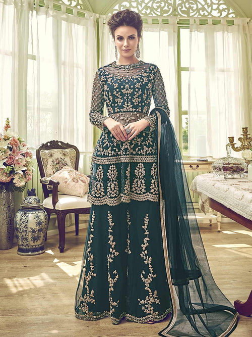 Dark Green Embellished Indian Gharara Palazzo Suit