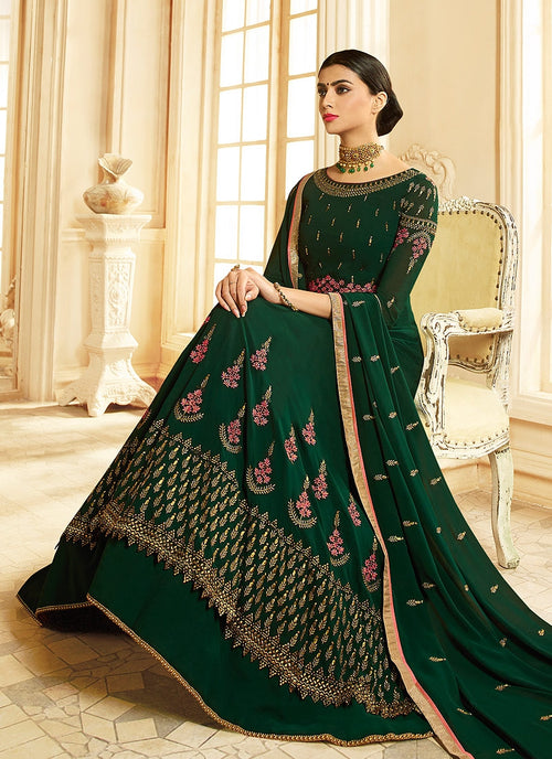 Dark Green Ethnic Multi Embroidered Flared Anarkali Suit