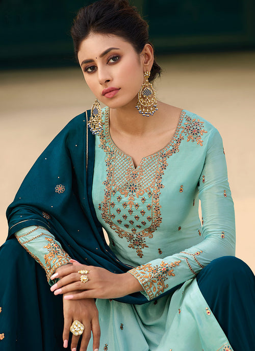 Indian Clothes - Turquoise Blue Gharara Style Suit