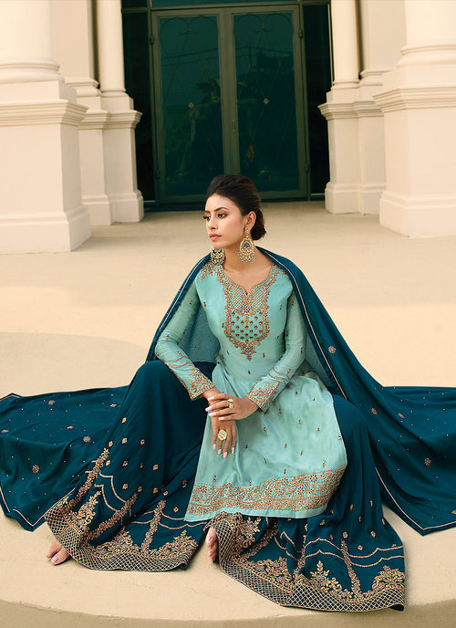 Indian Dresses - Turquoise Blue Gharara Suit