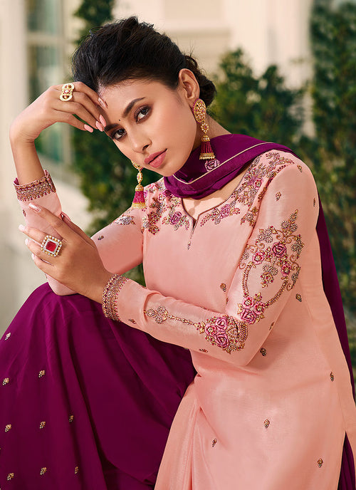 Indian Clothes - Pink Gharara Style Suit