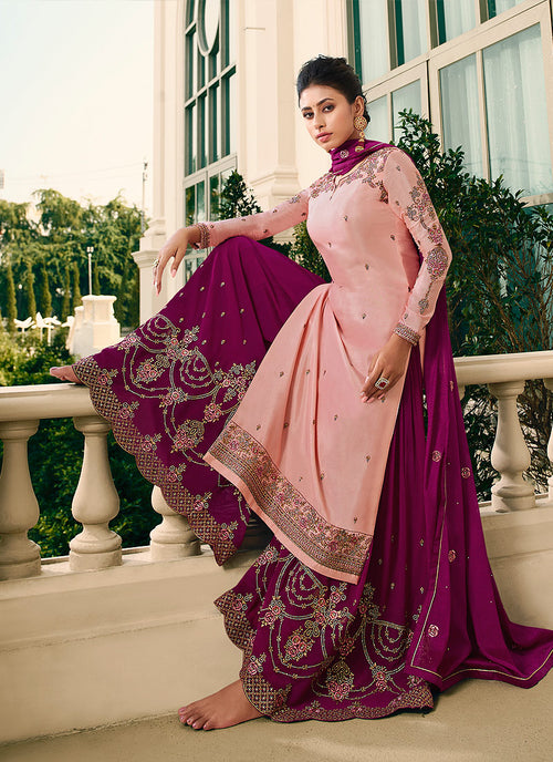Indian Suits - Pink Gharara Suit In USA