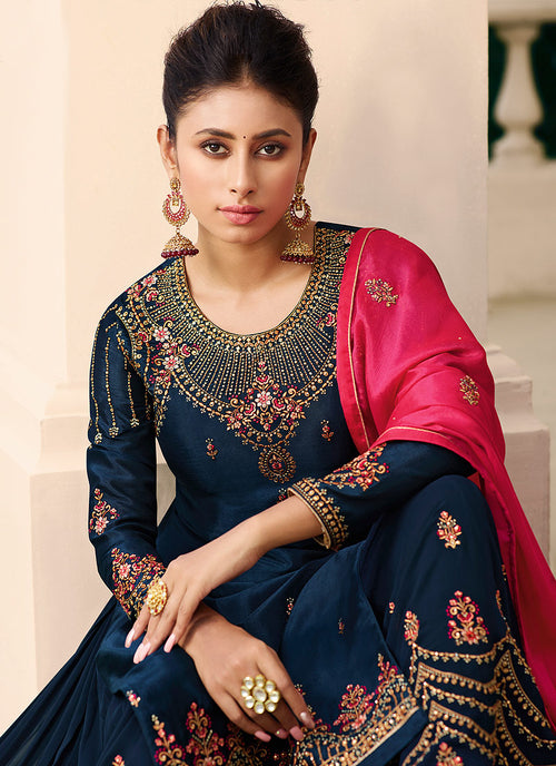 Indian Clothes - Blue And Pink Gharara Style Suit