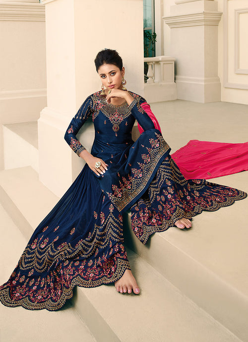Indian Suits - Blue Gharara Suit In USA