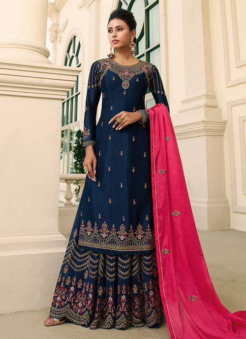 Blue Gharara Style Suit