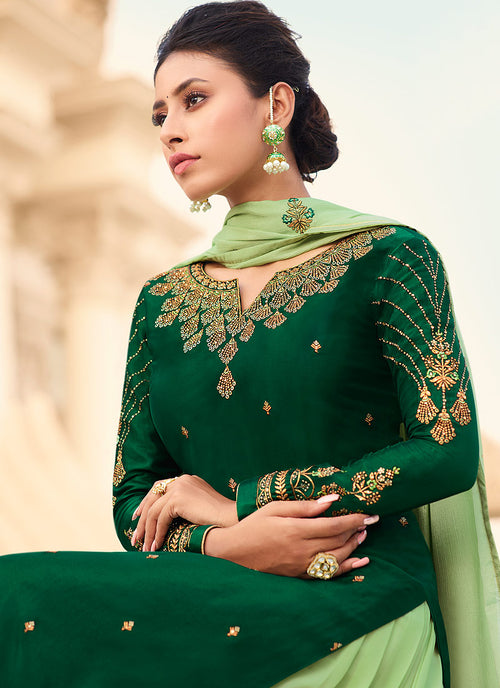 Indian Clothes - Green Gharara Style Suit