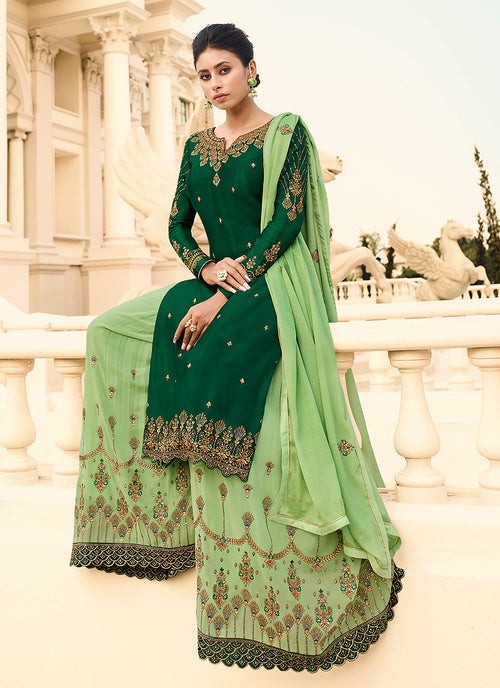Indian Dresses - Green Gharara Suit In USA