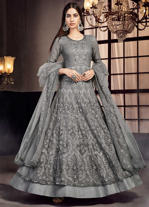 Indian Clothes - Grey Designer Embroidered Anarkali Lehenga Suit