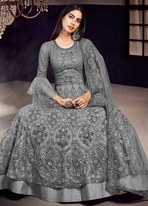 Indian Clothes - Grey Designer Lehenga Suit