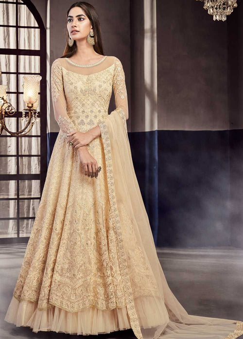 Indian Clothes - Beige Golden Embroidered Anarkali Gown Suit