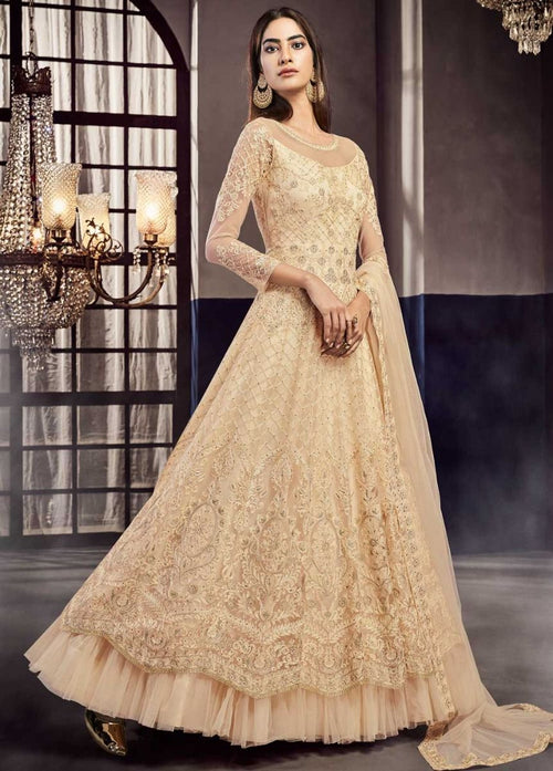 Indian Clothes - Beige Golden Suit