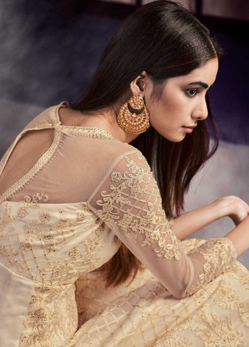 Indian Dresses - Beige Golden Embroidered Anarkali Gown Suit
