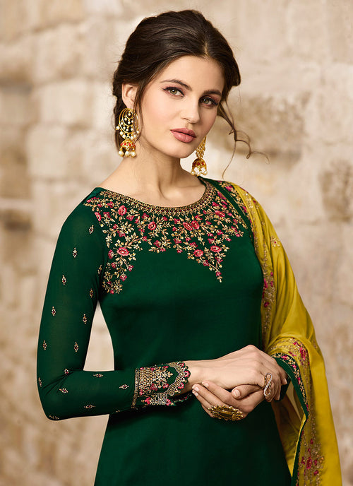 Green And Yellow Traditional Pants Suit, Salwar Kameez