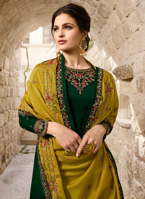 Green And Yellow Traditional Pants Suit