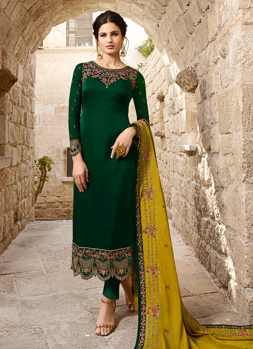 Indian Clothes - Green And Yellow Traditional Pants Suit