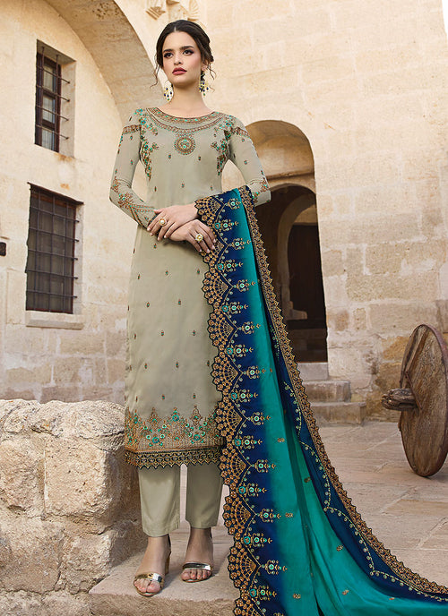 Indian Clothes - Teal And Turquoise Traditional Pants Suit