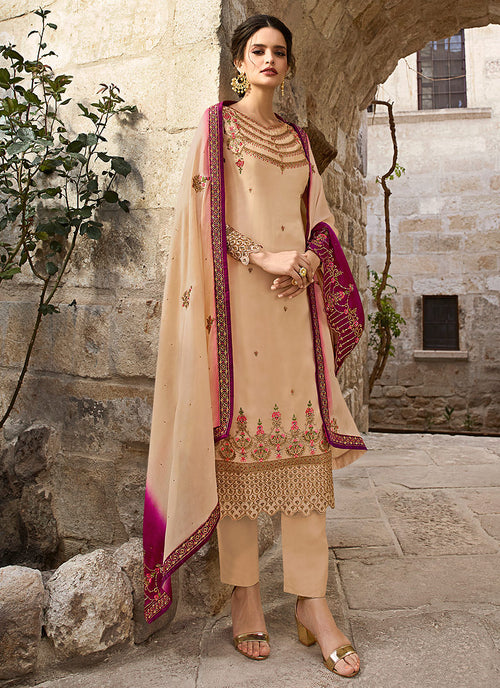 Beige And Pink Traditional Pants Suit