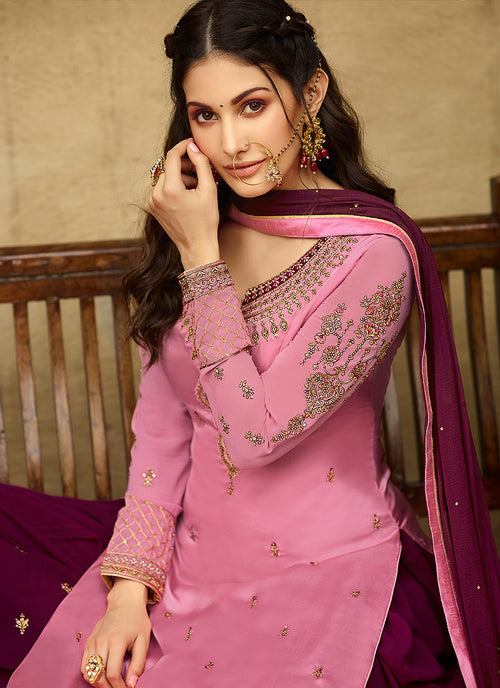 Pink And Plum Embroidered Designer Sharara Suit
