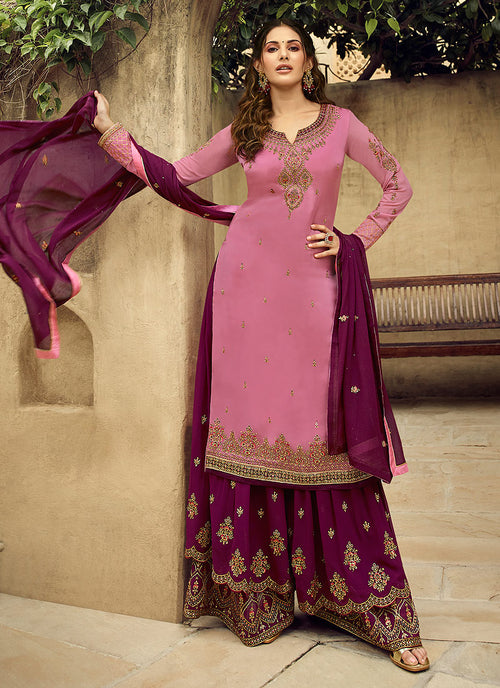 Indian clothes - Pink And Plum Embroidered Designer Sharara Suit