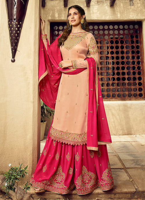 Indian Clothes - Peach And Pink Embroidered Designer Sharara Suit