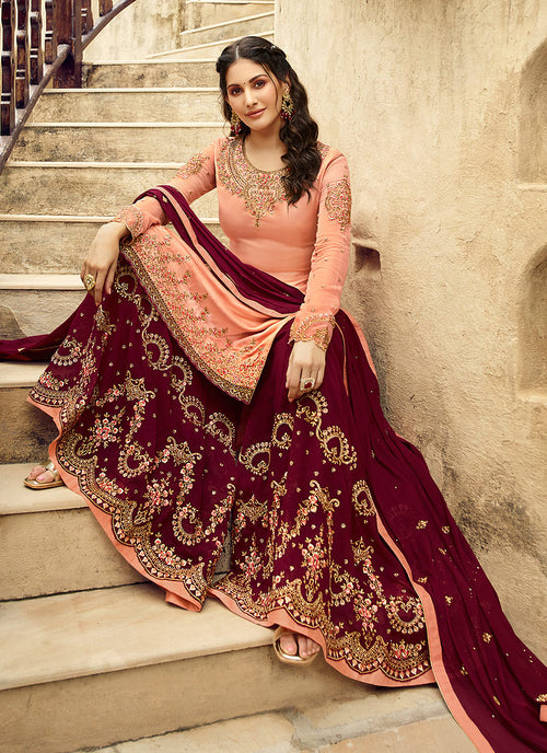 Peach And Maroon Embroidered Designer Sharara Suit, Salwar Kameez