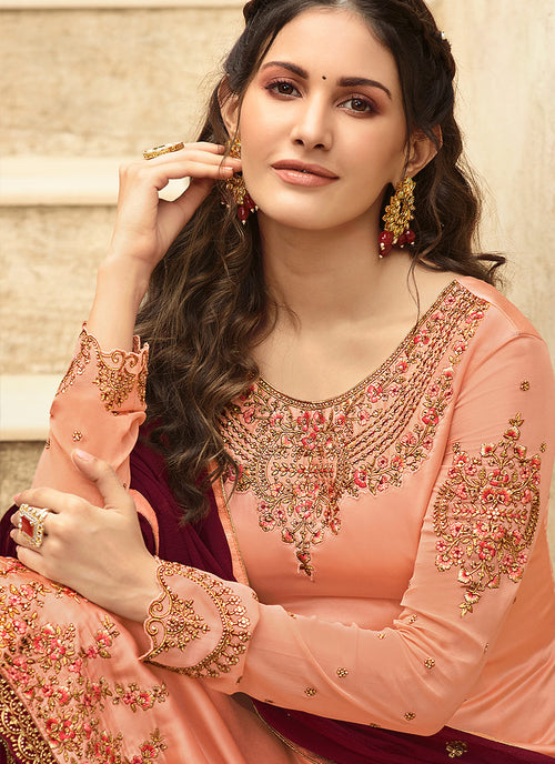 Peach And Maroon Embroidered Designer Sharara Suit
