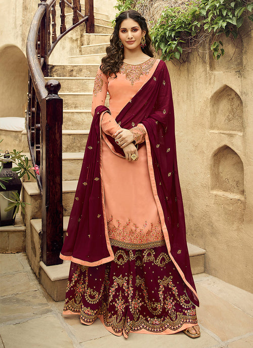 Indian Clothes - Peach And Maroon Embroidered Designer Sharara Suit