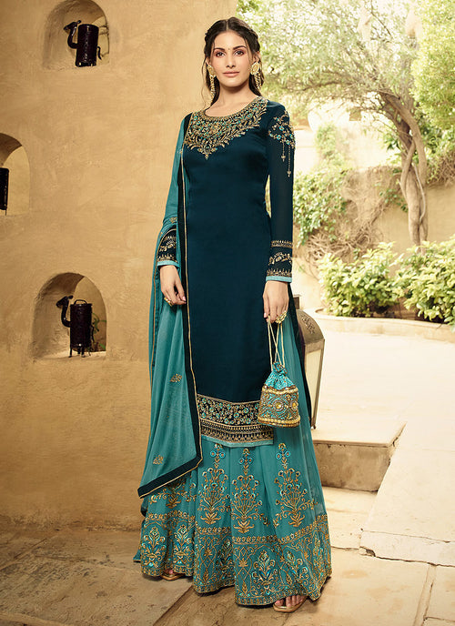 Indian Clothes - Turquoise And Blue Embroidered Designer Sharara Suit