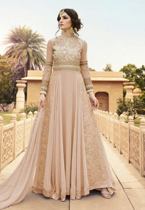 Peach Designer Embroidered Anarkali Suit In usa