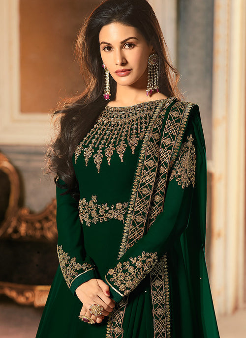 Deep Green Golden Embroidered Anarkali Suit, Salwar Kameez