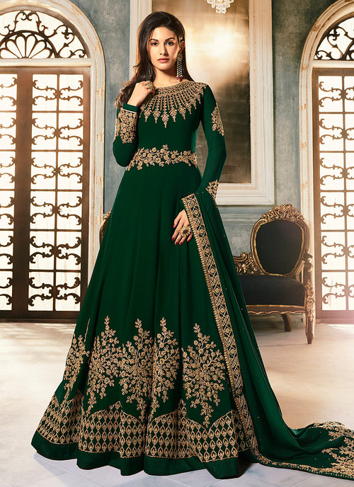 Indian Clothes - Deep Green Golden Embroidered Anarkali Suit