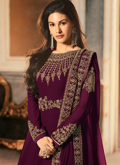 Magenta Golden Embroidered Anarkali Suit, Salwar Kameez