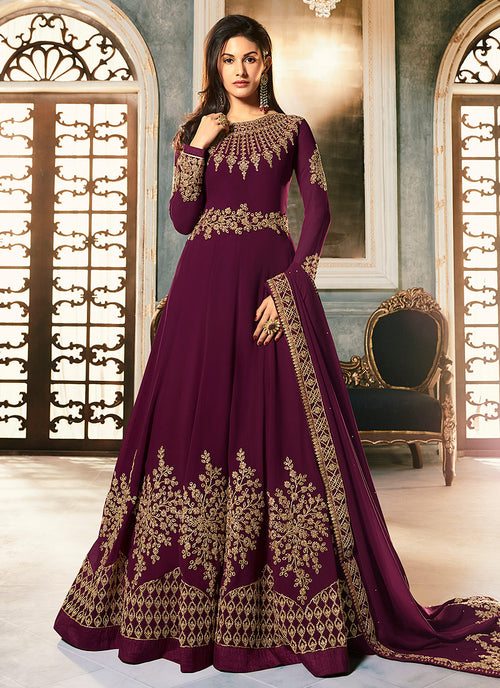 Indian Clothes - Magenta Golden Embroidered Anarkali Suit